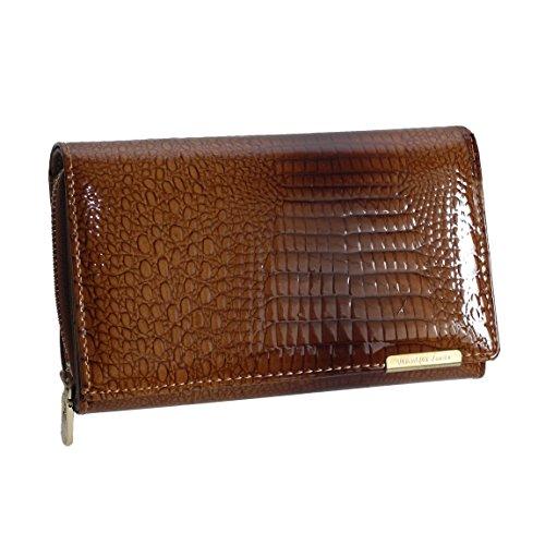 Jennifer Jones - Lang Format sehr feine Leder Croco-Snake elegant Damengeldbörse Portemonnaie (Cognac Kroko Style) - präsentiert von ZMOKA®