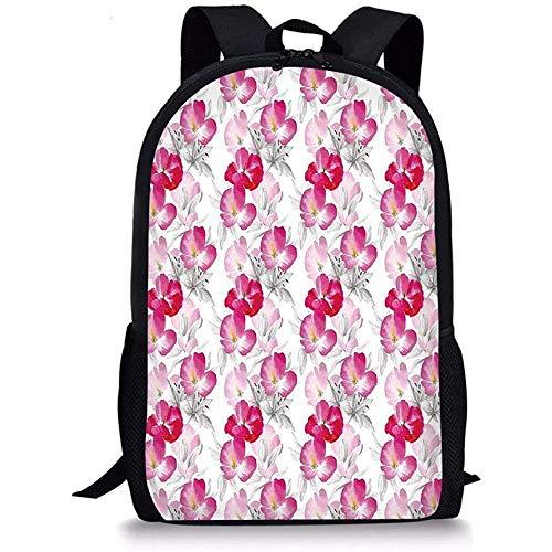 Hui-Shop Mochilas Escolares Floral, Acuarela Flores de Amapola Color vívido Imagen del Entorno Romántico Plantas Encantadoras Magenta Rosa Gris