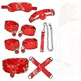 Vestido de Lujo con Esposas de Cosplay Rojo Jacquard de 7 Piezas con Campanas, Accesorios de Disfraces de Tela Estampada