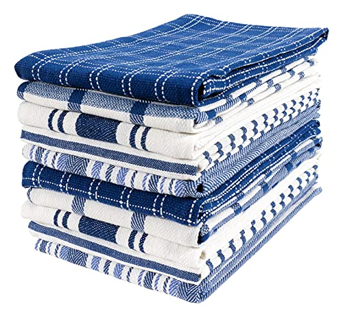 KAF Home Assorted Flat Kitchen Towels   Set of 10 Dish Towels, 100% Cotton - 18 x 28 inches   Ultra Absorbent Soft Kitchen Tea Towels   Perfect for Cooking, Cleaning, and Drying Hands (Navy)
