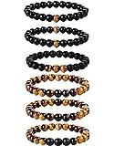 YADOCA 6 Pezzi 8 Mm Braccialetto Uomo Perline Set Occhio di Tigre Pietra Naturale Yoga Guarigione Braccialetto Elastico per Uomo Donna Regolabile