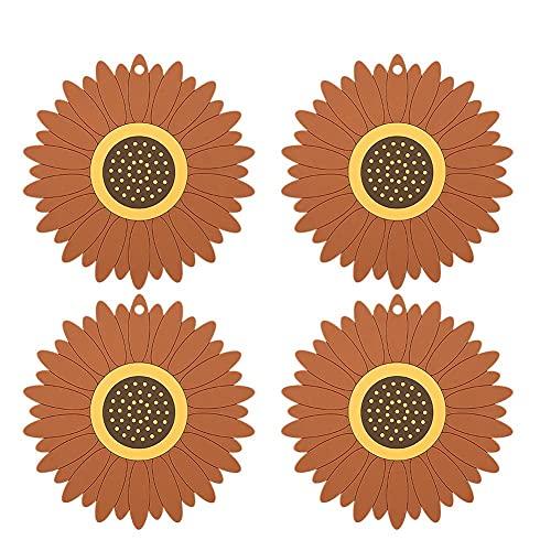 WSYW Juego de manteles individuales redondos de 4 piezas, con aislamiento individual con patrón de flores creativas, a prueba de agua y aceite, para proteger el escritorio, color marrón L