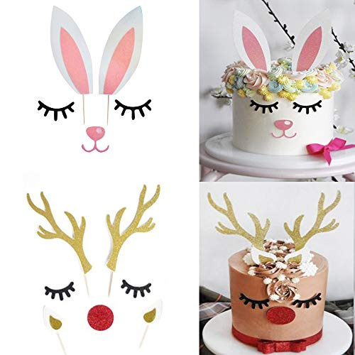 Christmas Reindeer Antlers Cake Topper Xmas Dinner Decoration Holiday Party Supplies 2Set