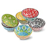 Porcelain Dessert Bowls Cereal bowl - Ceramic Bowl Set of 6 - Colorful Small Bowls for Ice Cream   Soup   Cereal   Rice   Snack   Side Dish   Condiment Microwave and Dishwasher Safe -4.75 Inch