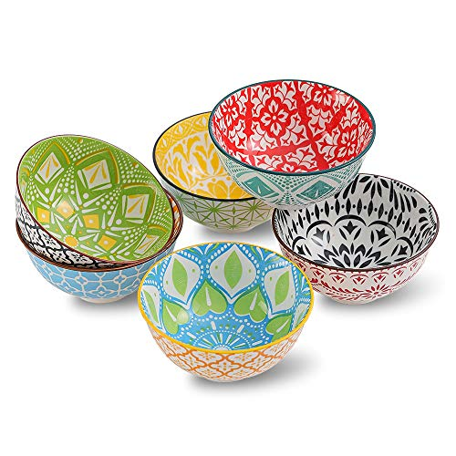 Porcelain Dessert Bowls Cereal bowl - Ceramic Bowl Set of 6 - Colorful Small Bowls for Ice Cream | Soup | Cereal | Rice | Snack | Side Dish | Condiment Microwave and Dishwasher Safe -4.75 Inch