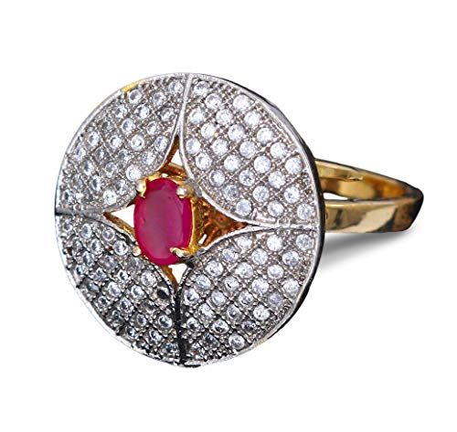 Jewelryonclick Beautiful Design Polki Ring Oval Ruby, Cubic Zircon Pink-White Indian Handmade 18K Gold Plated Fashion Designer Jewellery for Girls Ladies Women MKR 6-RED