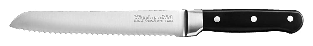 KitchenAid KKFTR8BROB Classic Forged Series Triple Rivet Serrated Bread Knife, Onyx Black, 8