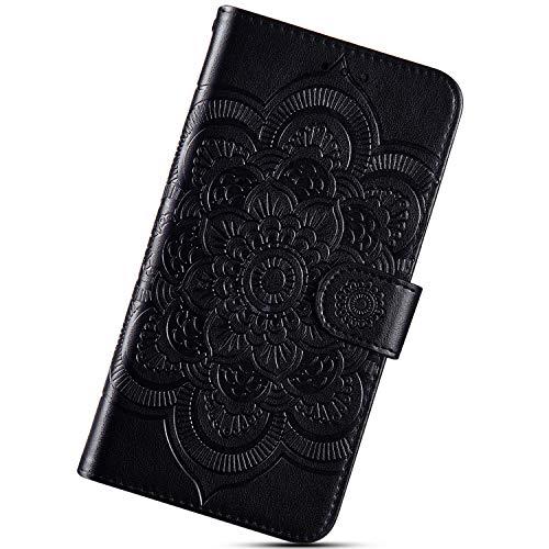 Urhause Custodia Compatibile con Nokia 5.1 2018 Cover KunyFond Mandala Fiore Leggero Portafoglio Pelle Pu Leather Wallet Nove Carte 360 Gradi Modello Scintillio Magnetico Supporto Bumper,Nero