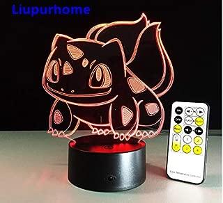 Bulbasaur Poke Monster 3D LED Nightlight Table Decor Lamp Novelty Night Light Child Gift Pokeball Action Figure