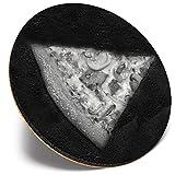 Posavasos redondo único – BW – rebanadas de pizza sobre fondo de pizarra | Posavasos de calidad brillante | Protección de mesa para cualquier tipo de mesa # 43373