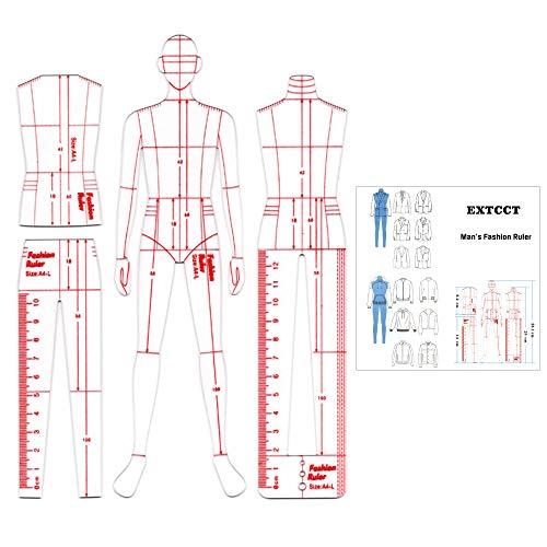 Regla de ilustración de moda para hombre, juego de regla de plantilla de dibujo, diseño de patrones humanoides de costura, medición de ropa, reglas de curva francesa, dibujo de papel de patrón A4