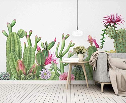 Mural Wallpaper Photo Poster Wall DecorationHand Drawn Plant Cactus simpleBackground Wall Background Painting Panorama 3D Wall Mural Decor 300 * 450cm