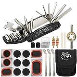 Tagvo Kit de herramientas para bicicleta, 16 en 1 Herramienta multifunción para bicicleta con kit de parche y palancas para neumáticos, Kit de herramientas para reparación de bicicletas, Paquete de he
