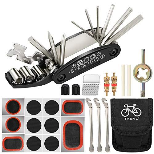 Tagvo Kit attrezzi per bici, 16 in 1 attrezzo multifunzione da bici con kit di patch e leve del pneumatico, kit di attrezzi per riparazione della bicicletta, kit di attrezzi per la riparazione di bici