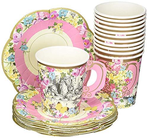 Talking Tables TSALICE-CUPSETV2 Set de Tazas con Mango y platillos, Cartón, Multicolor, 16.10x14.5x16.1 cm, 12 Unidades
