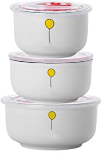 Microwaveable Mixing Bowls with Lid, Ceramic Prep Bowls Set of 3, Food Storage Containers, for Ingredients, Storing, 15/22...