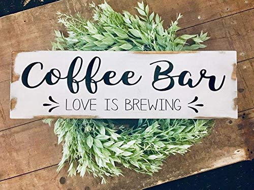 Modtory Coffee Bar weiß rustikales Holz bemalt Schild, Coffee Bar Love is Brewing Schild, Coffee Bar Wall Decor, Farmhouse rustikale Schilder