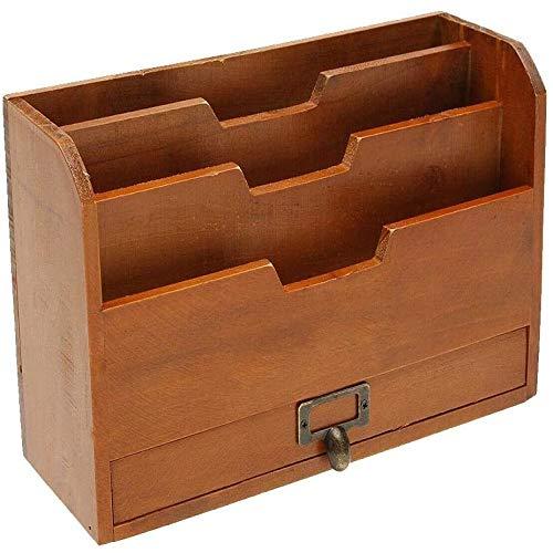 LLYWEY 4lagiges Aktenregal aus Holz, DesktopBriefpapier für Aktenlager, Papierfüllregal, Aktenorganisator 29,5 x 11 x 18 cm