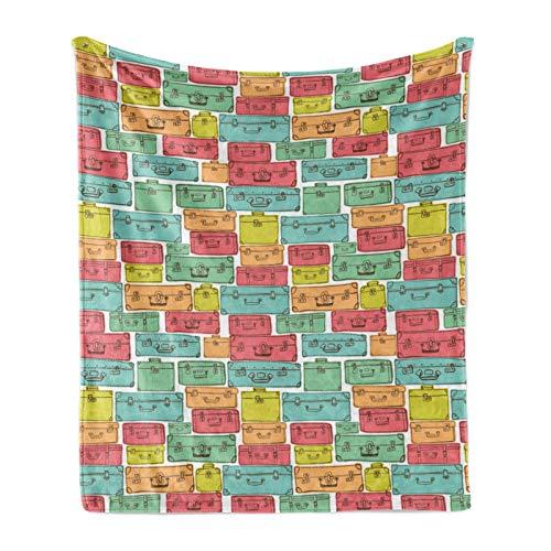 ABAKUHAUS Fiesta Suave vellón de Franela Manta, Patrón Maleta Colorido, Acogedora Felpa para Interior y Exterior, 125 x 175 cm,Multicolor