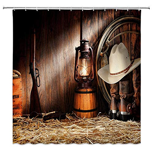 """Western Shower Curtain West Cowboy Hat Winchester Boots Country Rustic Barn Wooden Farmhouse Fabric Bathroom Decor Set with Hooks(70"""" WX70 H)"""