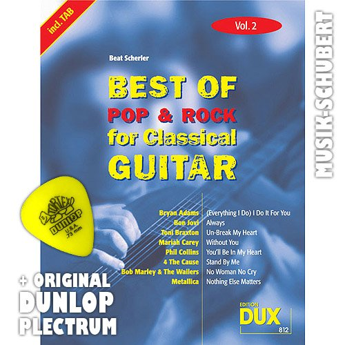 Best of Rock & Pop for Classical Gitar Vol.2 incl. plectrum - 8 hits van Bryan Adam BOB MARLEY, METALLICA o.a. gearrangeerd voor concertgitaar als solo fitting (noten/tablet) en met begeleidingsakkoorden om mee te singen (brocheerd) van Beat Scherler (noten/Sheetmusic)