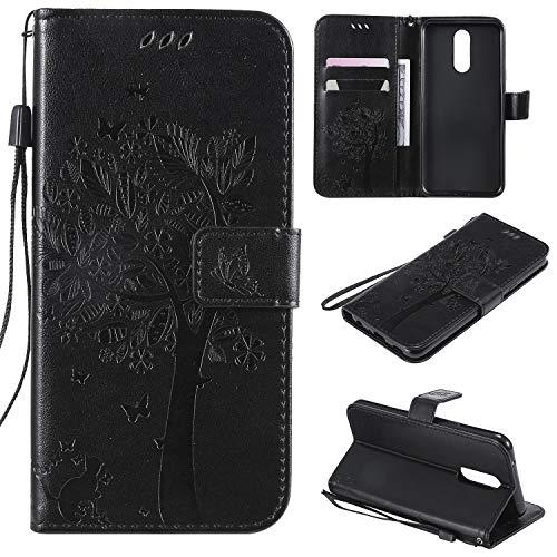 Nancen Compatible with Handyhülle LG K40 / K12 Plus Hülle, Flip-Hülle Handytasche - Standfunktion Brieftasche & Kartenfächern - Baum & Katze - Black