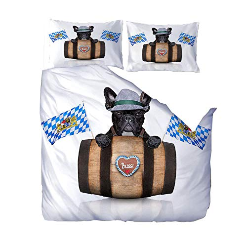 Duvet Cover Gothic 3D Printed White Animal Dog And Wine Barrel Bedding Set 3Pcs Microfiber Quilt Cover With Zipper Closure Ties 2 Pillow Shame For Adults And Teens Double Size (W140 X L200Cm)