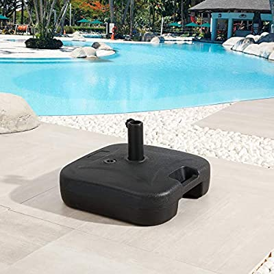 """LOKATSE HOME 18"""" Patio Umbrella Base Water Fillable 24L(52.9 lbs) Outdoor Plastic Heavy Duty Square Stand with Pole Hole, Black"""