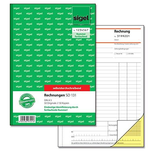 SIGEL SD131 Rechnungen fortlaufend nummeriert, A5, 2x50 Blatt, selbstdurchschreibend