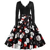 Damen Elegant Weihnachten Kleider Langarm Vintage Hepburn Cocktailkleid Weihnachten...
