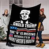 Customs Blanket Donald Trump - The D is Missing Blanket - Fleece Blanket - Personalized Blankets Printed Fleece Minky Sherpa Blankets Plush Throw Blanket Queen Small Twin King Bed Size