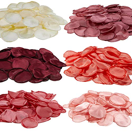 600 Pétalos de Rosa de Seda de San Valentín Pétalos de Flores Artificiales de Dispersión para Pasillo de Boda Confeti de Centros de Mesa Decoración de Mesa de Cena de Fiesta, 6 Colores