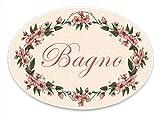 Domus Artis Targa Porta Shabby Chic Fiori Rosa Ovale 20x15 (Bagno)