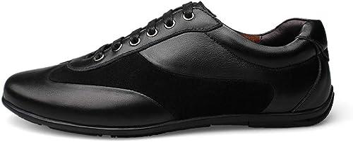 Chaussures de sport pour hommes. Chaussures à lacets en en cuir véritable. Résistance à l'usure antidérapante. Chaussures de course légères. Chaussures de cricket ( Couleur   Noir , Taille   36 EU )  marque célèbre