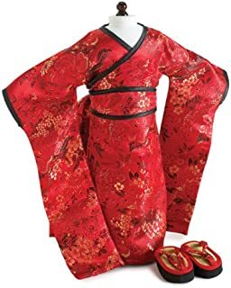 CARPATINA Red Brocade Japanese Kimono & Sandals ~ Doll Outfit Fits 18