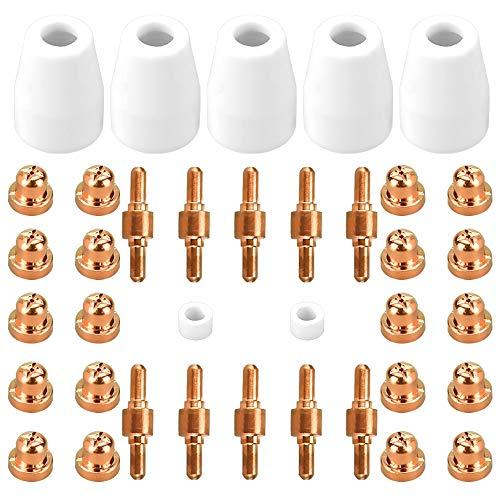 PERFETSELL 37 Stücke Cutter Verbrauchsmaterial Plasmaschneiden Plasma Keramikkappen Elektrode Spitze Düse Schneiden Zubehör für CUT-4 CUT-40D LGK-40 CT312 CT416D CT416D CT416D CT518D Super160