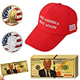 LONG7INES 13Pack 2018 USA President Donald Trump Pack, 10Pcs Gold Foil 1000 Dollar Bill Banknote + 1Pc Trump Sport Hat + 2Pcs Official Authentic 24k Gold-Plated Donald Trump Commemorative Coins in Gol