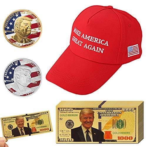 Vanproo 13 Stück 2018 USA Präsident Donald Trump, 10 Stück Goldfolie 1000 Dollar Schein + 1 Trump Sport Hut + 2 Stück offizielle authentische 24 Karat vergoldete Donald Trump Gedenkmünzen in Gol.