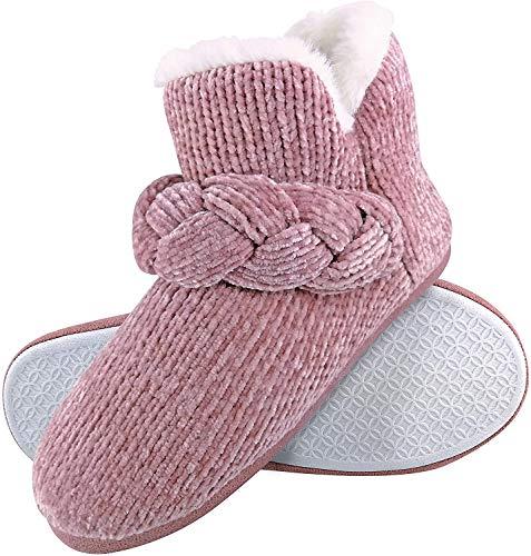 Dunlop - Damen Winter Warm Plüsch Hausschuhe Boots Stiefel mit Feste Sohle (36 EU, 8033 Pink)