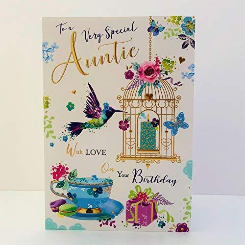 Jonny Javelin Very Special Auntie Birthday Card - Hummingbird Bird Cage