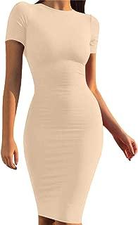 Women's Casual Basic Pencil Dress Sexy Long Sleeve Bodycon Midi Club Dress