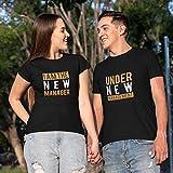 TheYaYaCafe Yaya Cafe Couple T-Shirts Printed Under Management Bride Groom Husband Wife Men