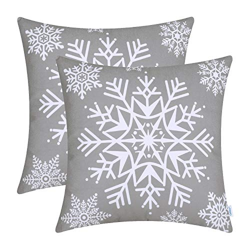 CaliTime Cushion Covers Pack of 2 Cozy Fleece Throw Pillow Cases Covers for Couch Bed Sofa Christmas Snowflakes 45cm x 45cm Medium Grey