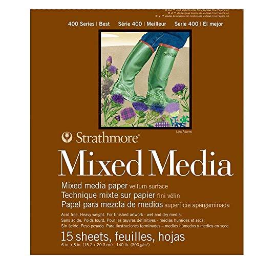 Strathmore 400 Series - Bloc de medios mixtos (6 x 8 pulgadas, 15 hojas (paquete de 3)
