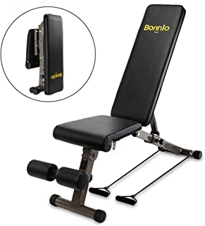 Bonnlo Upgraded Adjustable Bench, Folding Weight Bench Press for Body Workout Fitness, 660 LBS Capacity, Workout Bench for Incline Decline Flat Exercise Training Black