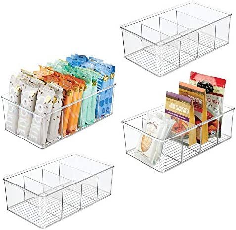 mDesign Plastic Food Storage Organizer Bin Box 4 Divided Sections Holder for Seasoning Packets product image