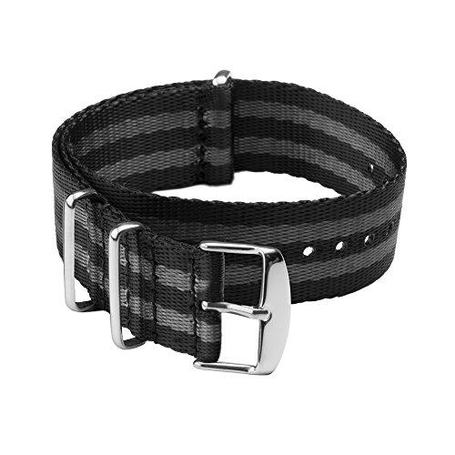 Archer Watch Straps - Sicherheitsgurt Stil Gewebtes Nylon NATO Uhrenarmband - Schwarz und Grau (James Bond)/Edelstahl Hardware, 22mm