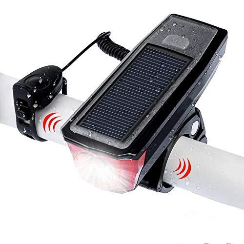 WASAGA Faro de Bicicleta, Luz Frontal de Bicicleta de 4 Modos Recargable Inteligente con energía Solar con Campana de Bicicleta para Ciclismo Advertencia de Seguridad Altavoz LED