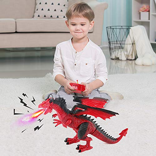 BeebeeRun Remote Control Dinosaur, Red Dinosaur Figures Realistic Looking with Roaring Spraying Light Up Eyes,RC Walking Dragon Toy for Kids Boys Girls Birthday Gifts