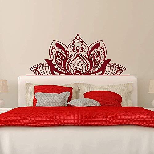 LSMYE Einzigartiges Design Aufkleber Halbes Mandala Blumenkopfteil Böhmischer Stil Lotus Art Wanddekor Wandbild Schlafzimmer Home Deco Weiß L 180cm X 72cm